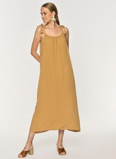 Loves You Püskül Askılı Krinkıl Maxi Boy Elbise Camel